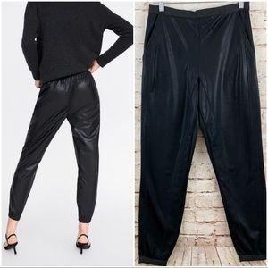 Zara Trafaluc faux leather jogger pants